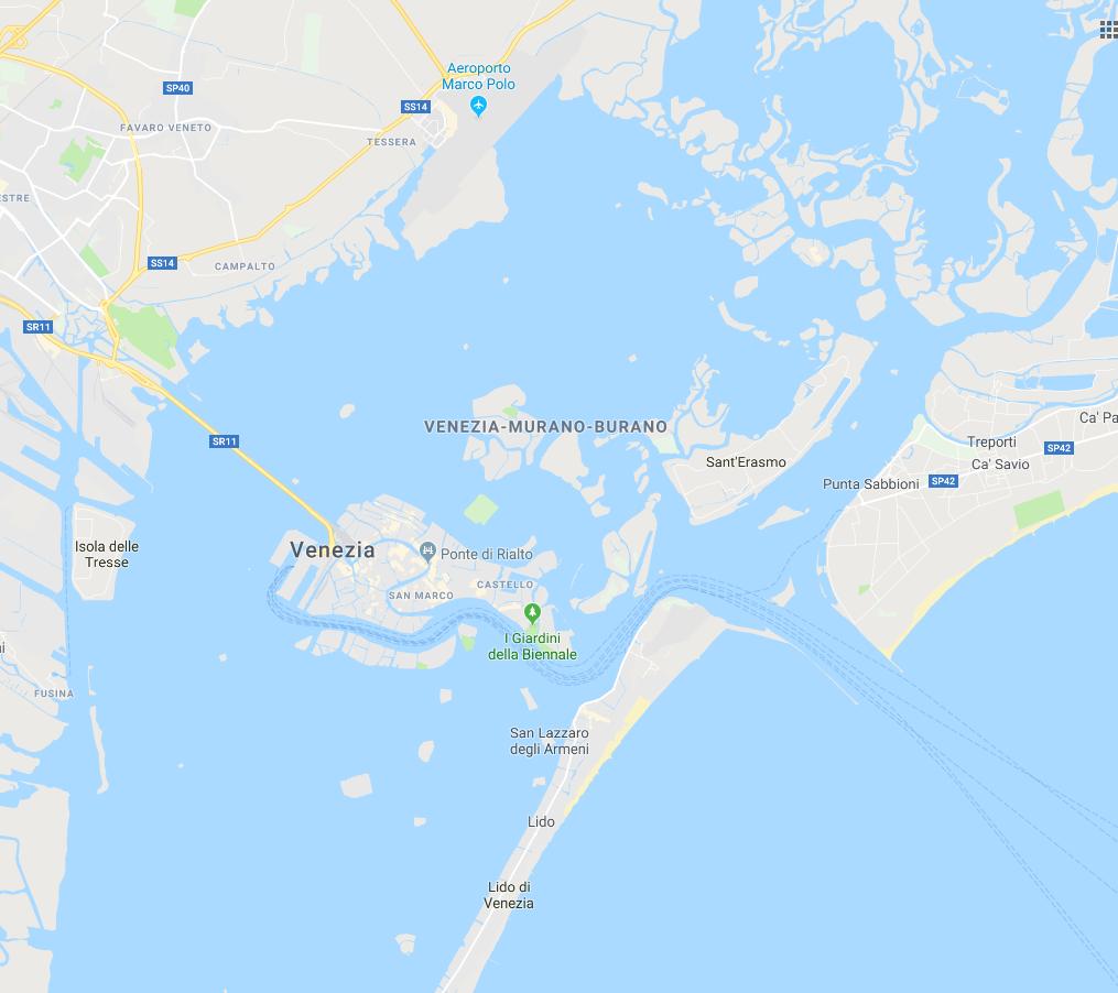 mappa laguna di venezia
